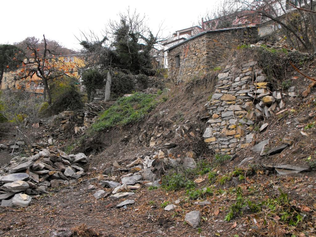 Le futur poulailler et le mur écroulé, à reconstruire.